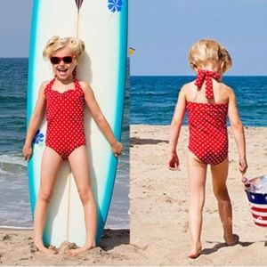 One Piece Girl Polka Dot Halter Swimsuit, Red